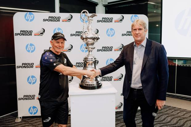 Emirates Team New Zealand CEO Grant Dalton and HP New Zealand Managing Director Grant Hopkins at today's sponsorship announcement. Photo / Supplied.
