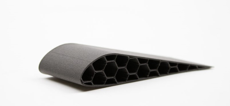 Part produced with lightweight PLA using active foaming technology. Photo via colorFabb.